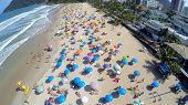 stock photo of carnival rio  - Aerial view of a famous beach in Rio de Janeiro - JPG