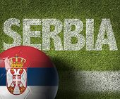 stock photo of serbia  - Soccer field with the text - JPG