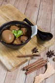 picture of stew  - Egg stewed is a traditional Thai dish commonly served everywhere in Thailand - JPG