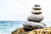 picture of tranquil  - Stones balance and wellness retro spa concept inspiration beautiful landscape background zen - JPG
