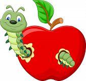stock photo of caterpillar cartoon  - Vector illustration of Cartoon Caterpillars eat the apple - JPG