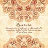 picture of mehndi  - Vector ornate vintage background in mehndi style - JPG