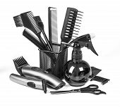 foto of bobbies  - the Professional hairdresser tools isolated on white - JPG