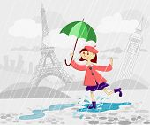 pic of french beret  - French girl with umbrella running under rain - JPG
