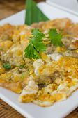 picture of southeast asian  - Southeast Asian Fried Baby Oyster Omelette on dish - JPG