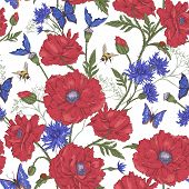 foto of blue butterfly  - Summer Vintage Floral Seamless Pattern with Blooming Red Poppies Cornflowers Ladybird Bumblebee Bee and Blue Butterflies - JPG