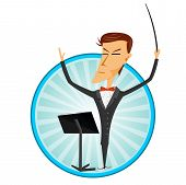 image of orchestra  - illustration of cartoon man conducting an orchestra - JPG