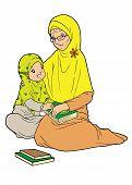 foto of muslim  - Indonesian muslim grandmother and granddaughter showing bonding - JPG