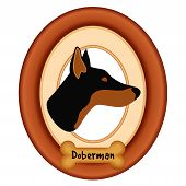 pic of doberman pinscher  - Doberman Pinscher dog portrait profile in cherry wood mat frame - JPG