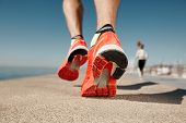 stock photo of legs feet  - Close up runner feet - JPG