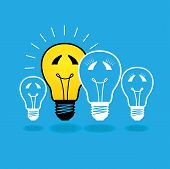 stock photo of lightbulb  - illustration of lightbulb family concept  - JPG