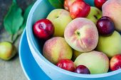foto of apricot  - Juicy peaches and apricots in wooden bowl - JPG