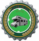 picture of camper  - crown cap with metal image tourist transport camper - JPG