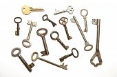image of hasp  - Many vintage keys to the safe on a white background - JPG