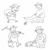 stock photo of trolley  - Cartoon gardeners work - JPG