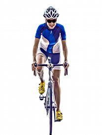 stock photo of triathlon  - woman triathlon ironman athlete  cyclist cycling on white background - JPG