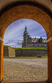 foto of hamlet  - Kronborg castle made famous by William Shakespeare in his play about Hamlet situated in the Danish harbour town of Helsingor - JPG