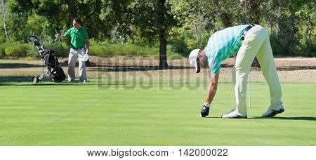 Golfer and caddy on putting green, toned image