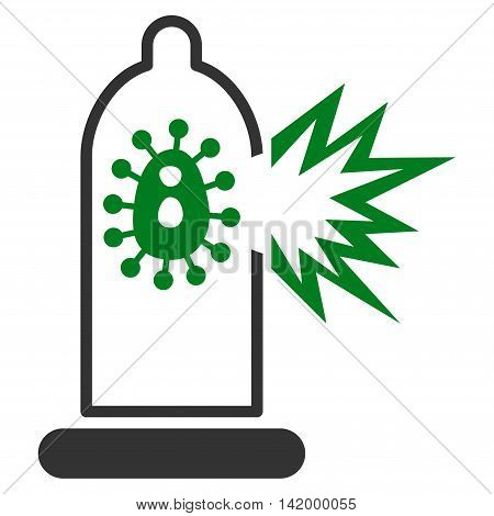 Damaged Condom With Virus vector icon. Style is bicolor flat symbol, green and gray colors, rounded angles, white background.