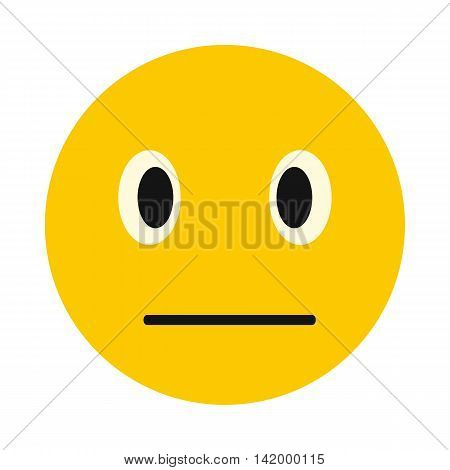 Calm smiley icon in flat style isolated on white background. Facial expressions symbol