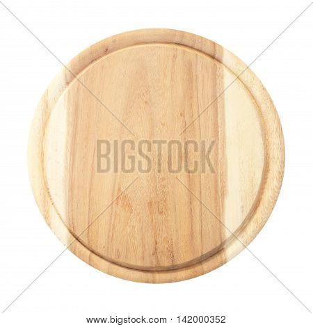 Round chopping board. Isolated on white background