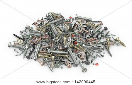 Set of nuts screws bolts screws washers and fastening on a white background. 3d illustration