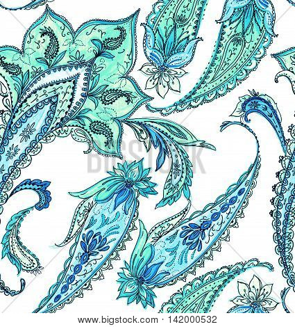 seamless paisleys design on white background. detailed ink illustration. very beautiful gentle traditional paisleys.