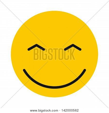 Joyful smiley icon in flat style isolated on white background. Facial expressions symbol