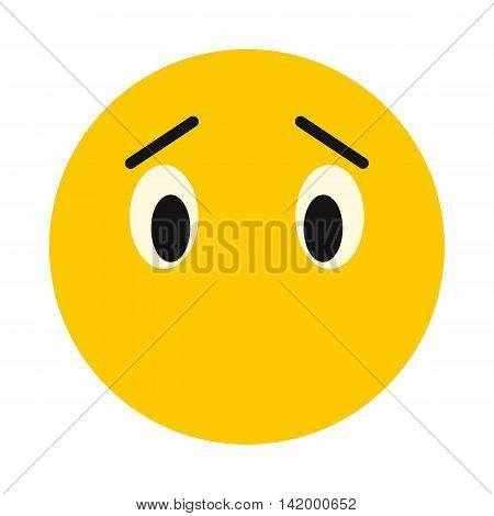 Thoughtful smiley icon in flat style isolated on white background. Facial expressions symbol