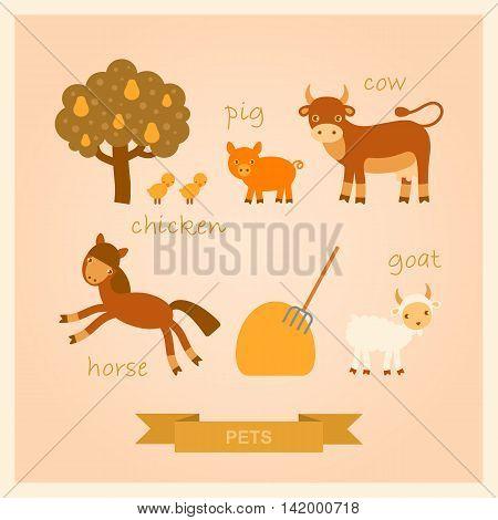 set of vector cartoon illustrations of farm animals