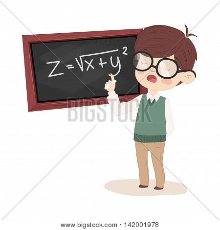 The student at the Board solves the equation. Boy with glasses painted in cartoon style.