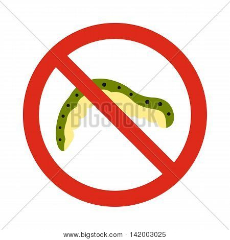 Prohibition sign caterpillar icon in flat style isolated on white background. Warning symbol