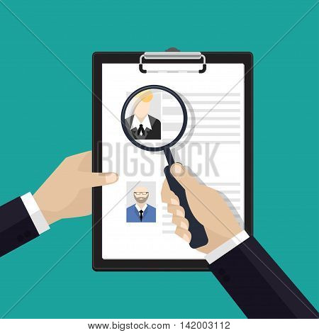 Vector concept of human resources management, finding staff, head hunter job, employment issue and analyzing personnel resume.