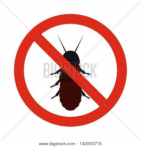 Prohibition sign coleoptera icon in flat style isolated on white background. Warning symbol
