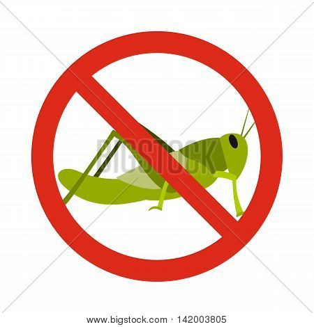 Prohibition sign grasshoppers icon in flat style isolated on white background. Warning symbol