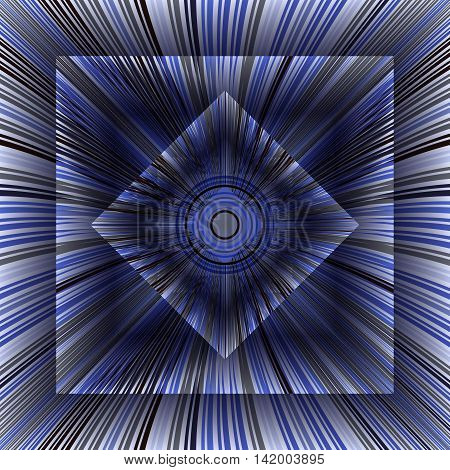 Аbstract background with inscribed boxes. Composition with converging rays. 3d vector illustration.