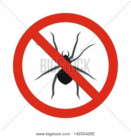 Prohibition sign spiders icon in flat style isolated on white background. Warning symbol