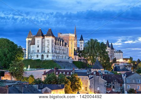 View on Pau castle in the evening Pyrenees Atlantiques Aquitaine France