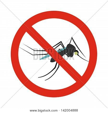 Prohibition sign mosquitoes icon in flat style isolated on white background. Warning symbol