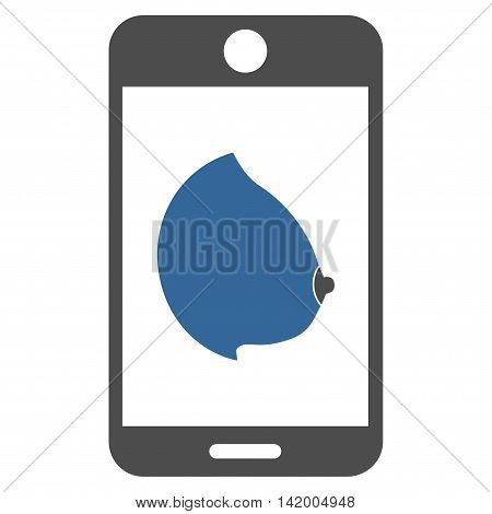 Mobile Erotic Tit vector icon. Style is bicolor flat symbol, cobalt and gray colors, rounded angles, white background.
