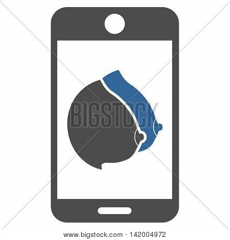 Mobile Erotic Tits vector icon. Style is bicolor flat symbol, cobalt and gray colors, rounded angles, white background.