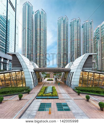 View on residential area of Hong Kong with high-rise apartment buildings