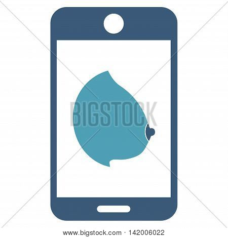 Mobile Erotic Tit vector icon. Style is bicolor flat symbol, cyan and blue colors, rounded angles, white background.