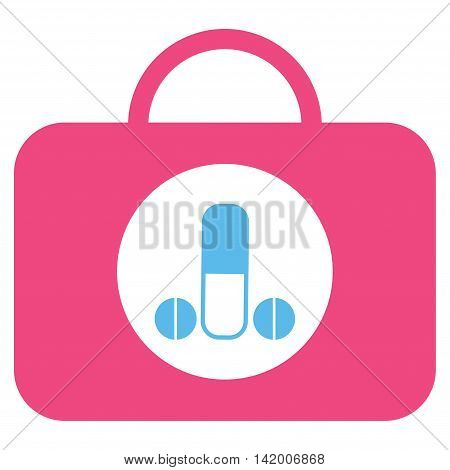 Male Sexual Toolbox vector icon. Style is bicolor flat symbol, pink and blue colors, rounded angles, white background.