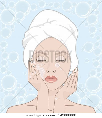 Woman washes her face. Woman with a towel on her head, vector illustration. Soap bubbles.  Frame of bubbles. She closed her eyes