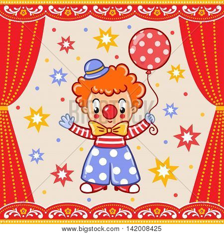 Postcard card poster or invitation with a circus clown.