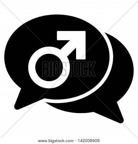 Male Chat vector icon. Style is flat symbol, black color, rounded angles, white background.