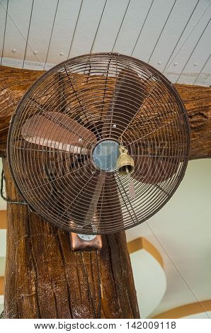 electric old fan on wood ceiling in home