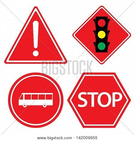 Road sign of bus stop, Hazard warning, red traffic sign on white background.