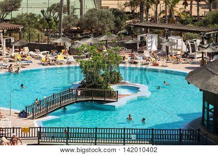 FUERTEVENTURA, SPAIN - SEPTEMBER 19, 2015: Swimming Pool in Caleta de Fuste on Fuerteventura . Canary Island. Spain